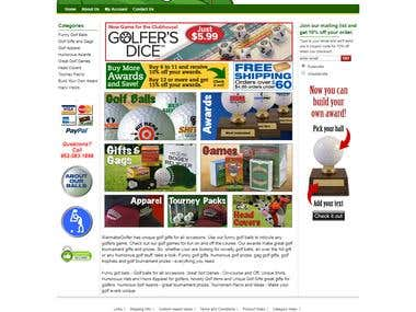 eCommerce website for Golf Products