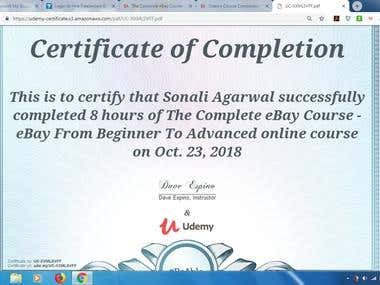 Certificate of Completion Ebay Course