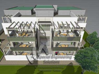 3-storey residential building - Photorealistic