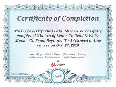 Music Theory(Read & Write) - Course Certificate