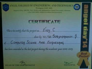 Received best project award