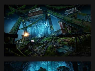 Digital painted scenes for the horror games.