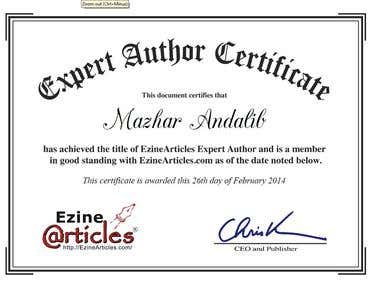 Expert Author Certificate