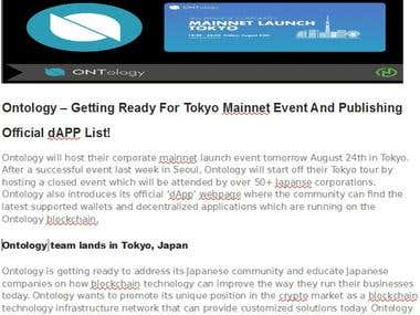 Ontology – Getting Ready For Tokyo Mainnet Event And Publish