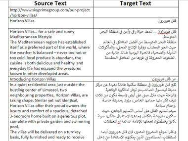 Translation of content of a website