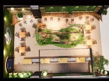 Interior Design of cake & coffee shop in a mall