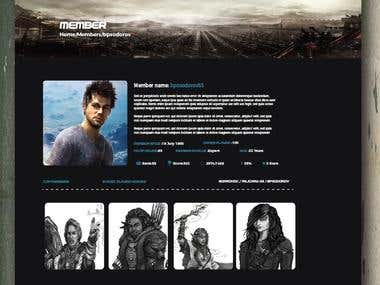 Gaming site page mockup