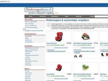 Product price comparisom (www.kinderwagenkiezer.nl)