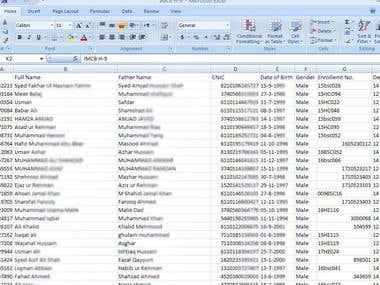 Record in spreadsheet