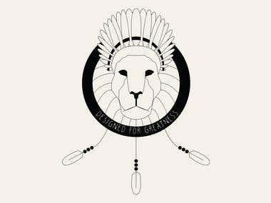 Lion Native American Line Art