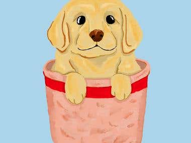 Puppy in a basket illustration for t-shirt