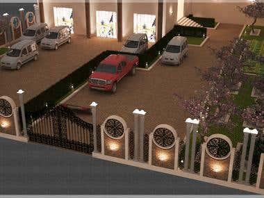 outdoor area+building entrance
