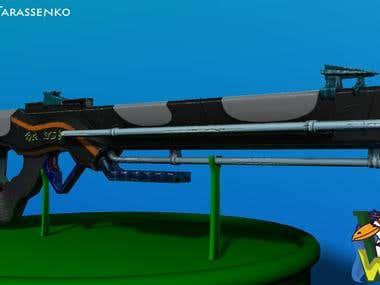 SciFi Gun High / Low Poly Textured & wireframe 1530 Tris