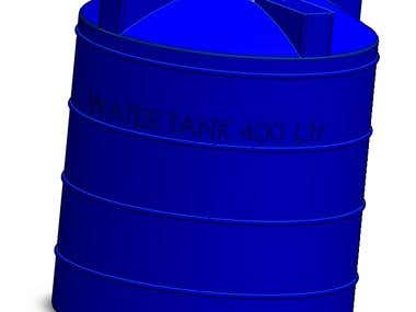 Water tank 3D modelling in solidworks