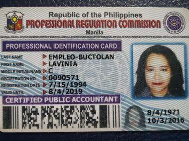 Ceritifed Public Accountant, identification card