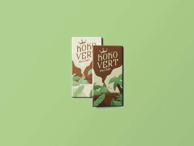 Organic Chocolate Bar Packaging and Illustration