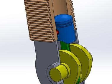 Engine Modelling in solidworks and motion study animation