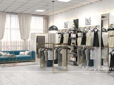 The interior of the showroom of women's clothing