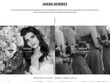 Portfolio style website for photographer