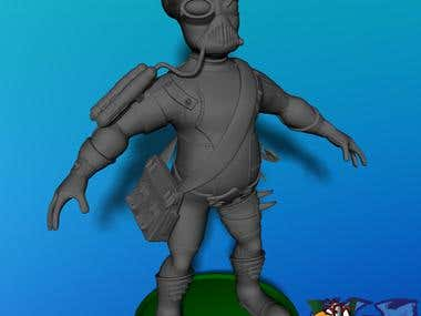 Alien Engineer for Mobile Sci-Fi game High/Low Poly...