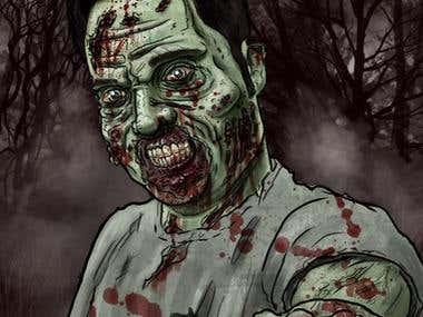 Zombie Portrait Drawing