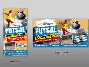 futsal banner and poster