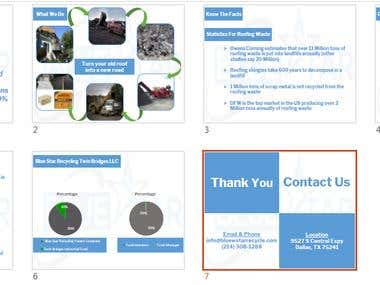 Power Point Design for Blue Star Recycling Company