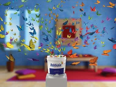 Robbialac 3D Paint Bucket with Butterfly Hoarding