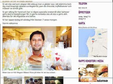 website for bakery Sweden