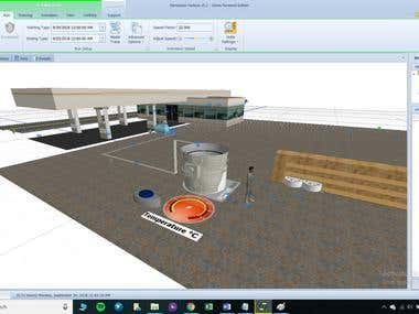 3D modeling of cheese factory in Simio