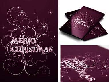 Christmas card with creative typography
