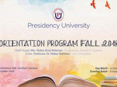 University Orientation program Banner Design