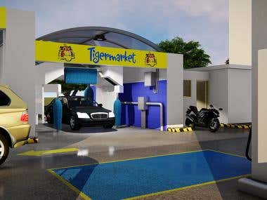 Car Wash Automated in 3D