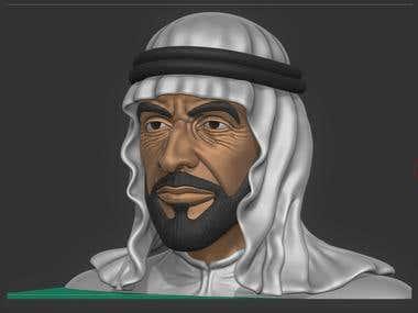 Bust of Sheikh Zayed bin sultan al-nahyan