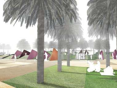 Concept design of South and North Parks + Water feature