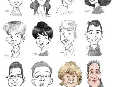 Digital Live Caricature/simple black and white caricature