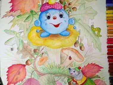Children's illustration watercolor