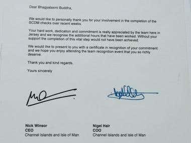 Certificates of Appreciation/Top Performer Awards (HSBC)
