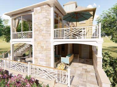 Redesign 2-story patio + four season sunroom addition