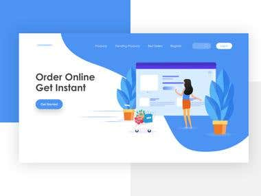 E-commerce website landing page design