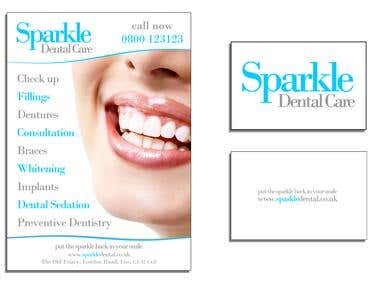 Sparkle - Dental Care Business Card and Flyer