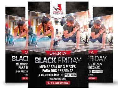 Diseño de Flyer de oferta black friday para gimnasio español