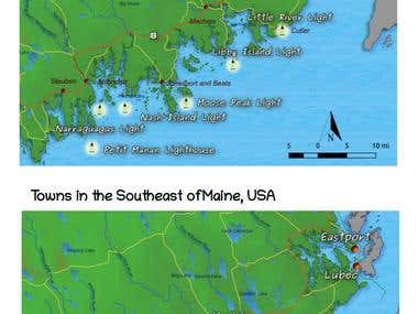 Maps for a travel guide of Maine
