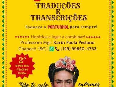 Cartel servicio de Español para particulares