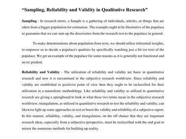 "Essay on ""Sampling, Reliability and Validity in Qualitative"""
