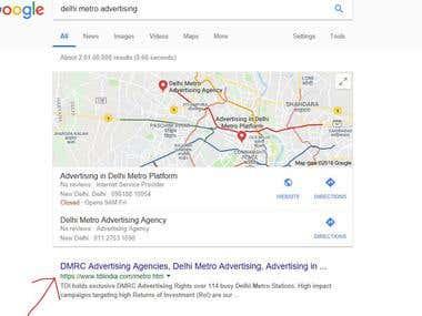 Keywords ranking on Google search