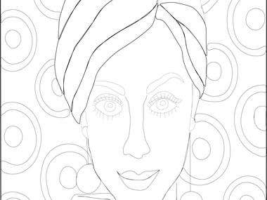Vector line illustrations for colouring pages