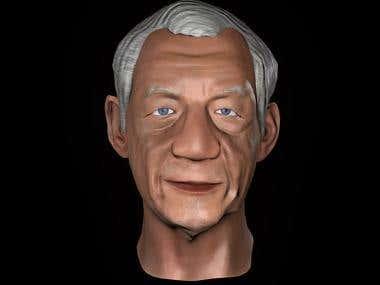 3D model Ian McKellen Cartoon
