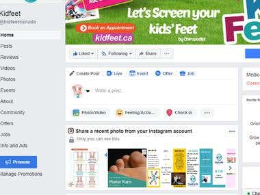 Management of Facebook, Instagram and Twitter Business Pages