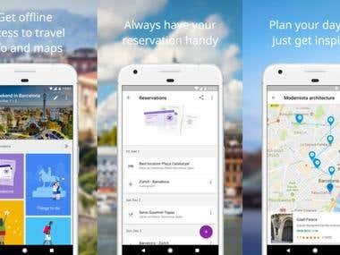 Mobile Application Development Google Trips Application